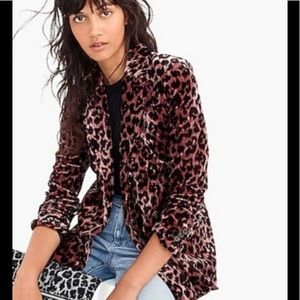 J. Crew Rose Leopard Velvet Rimbaud Blazer